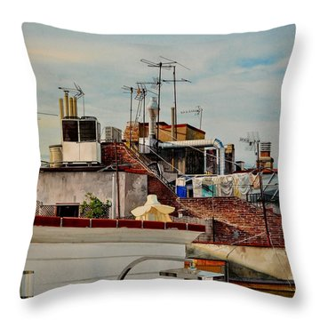Rooftops Of Barcelona Throw Pillow