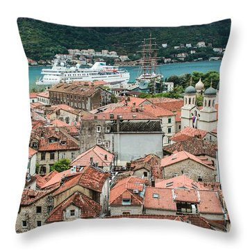 Rooftops Of Kotor  Throw Pillow