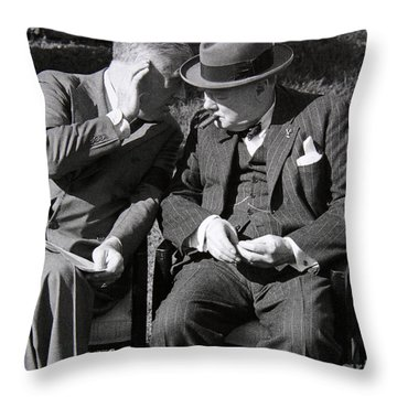 Roosevelt And Churchill Deep In Conversation At The Casablanca Conference, Morocco, January 1943 Throw Pillow