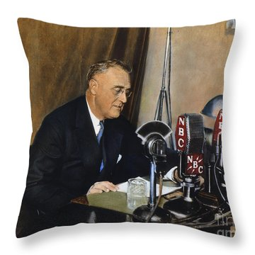Roosevelt: Fireside Chat Throw Pillow by Granger