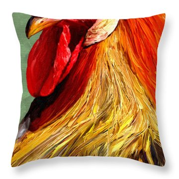 Throw Pillow featuring the digital art Rooster 1 by James Shepherd