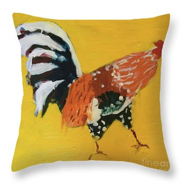 Throw Pillow featuring the painting Rooster 2 by Donald J Ryker III