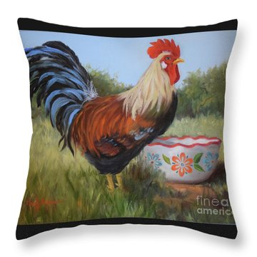 Rooster And Bowl I Throw Pillow