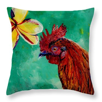 Throw Pillow featuring the painting Rooster And Plumeria by Marionette Taboniar
