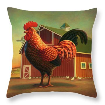 Rooster And The Barn Throw Pillow by Robin Moline