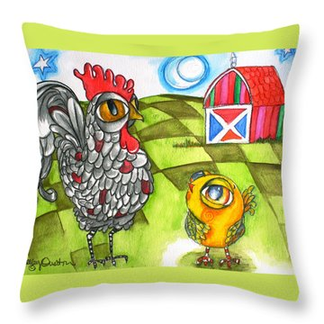 Rooster Coburn And The Chick Throw Pillow