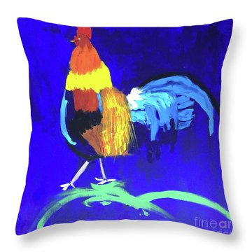 Throw Pillow featuring the painting Rooster by Donald J Ryker III