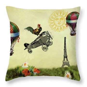 Rooster Flying High Throw Pillow