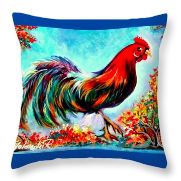 Throw Pillow featuring the painting Rooster/gallito by Yolanda Rodriguez