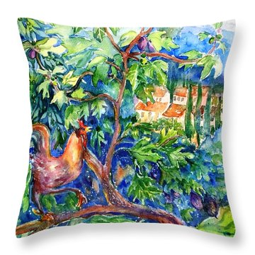 Rooster In A Fig Tree, Tuscany   Throw Pillow