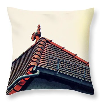 Rooster On The Roof Throw Pillow
