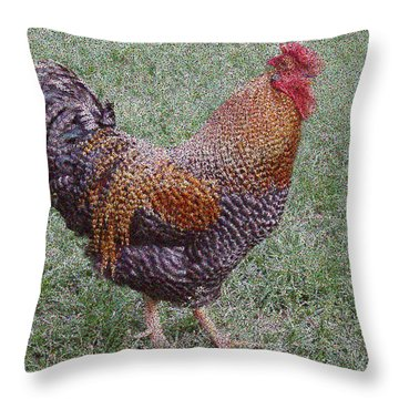Rooster Throw Pillow by Roena King