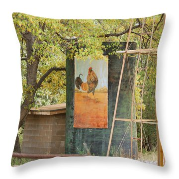 Rooster Water Tank Throw Pillow by Donna Greene