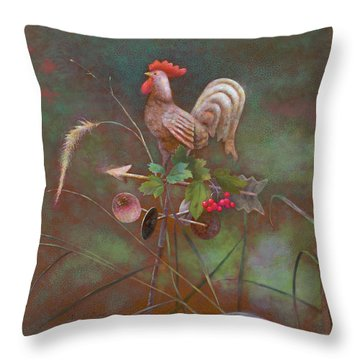 Throw Pillow featuring the painting Rooster Weather Vane In Garden by Nancy Lee Moran