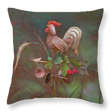 Throw Pillow featuring the painting Rooster Weather Vane In Square Format by Nancy Lee Moran