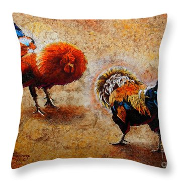 Roosters  Scene Throw Pillow by J- J- Espinoza