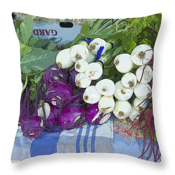 Throw Pillow featuring the painting Root Vegetables by Jeanette French