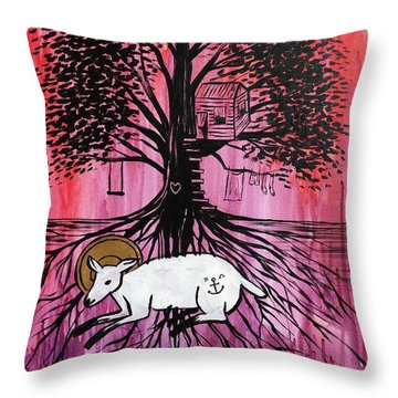 Throw Pillow featuring the painting Rooted In Him by Nathan Rhoads