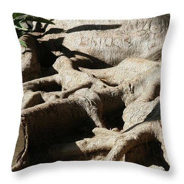 Roots And Graffiti Throw Pillow