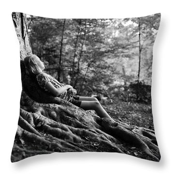 Roots Of Contemplation Throw Pillow by Ray Tapajna