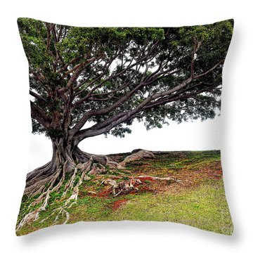 Roots Of Honolulu Throw Pillow by Gina Savage