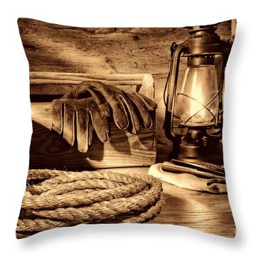 Rope And Tools In A Barn Throw Pillow