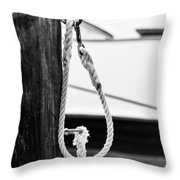 Rope Fence Fragment In Harbour Throw Pillow