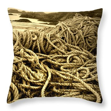 Ropes On Shore Throw Pillow