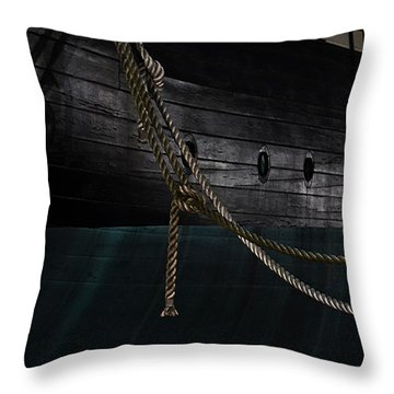 Ropes On The Uss Constellation Navy Ship Throw Pillow