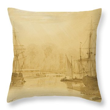 Ropewalk At Wapping, West Indiaman Union On Left, 1826  Throw Pillow