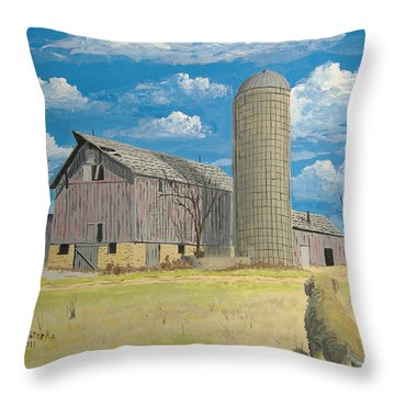 Throw Pillow featuring the painting Rorabeck Barn by Norm Starks