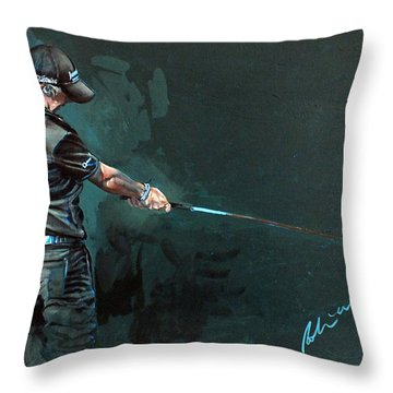 Rory Mcilroy Trick Shot 2010 Throw Pillow by Mark Robinson