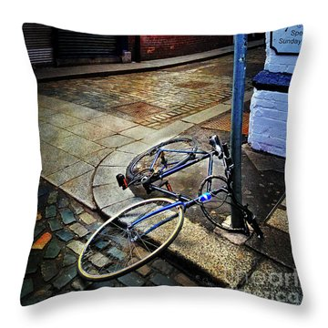 Throw Pillow featuring the photograph Rory's Fishing Tackle Bicycle by Craig J Satterlee