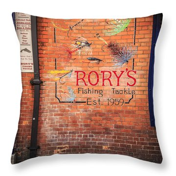 Rory's Fishing Tackle Throw Pillow