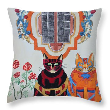 Rosa And Pedro Of The Rose Window Of Mission San Jose Throw Pillow