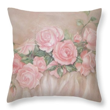 Rose Abundance Painting Throw Pillow