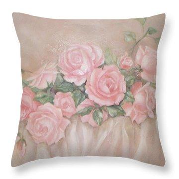 Rose Abundance Painting Throw Pillow