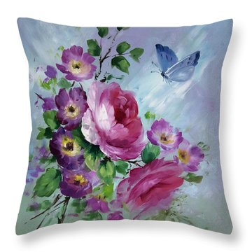 Rose And Butterfly Throw Pillow by David Jansen
