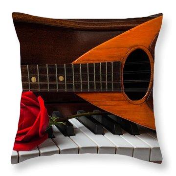 Rose And Mandolin Throw Pillow