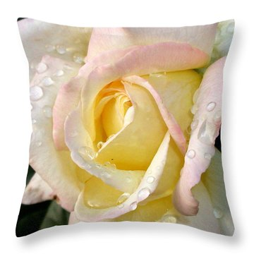Rose And Raindrops Throw Pillow by Cynthia Lassiter