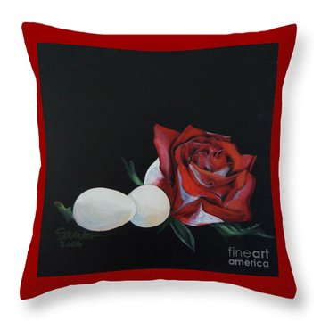 Rose And The Eggs Acrylic Painting Throw Pillow