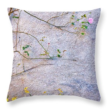 Throw Pillow featuring the photograph Rose And Yellow Flowers by Silvia Ganora