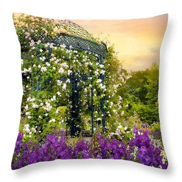 Rose Arbor At Sunset Throw Pillow