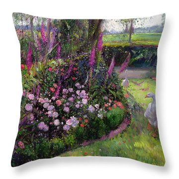 Rose Bed And Geese Throw Pillow by Timothy Easton