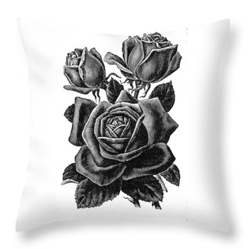Rose Black Throw Pillow