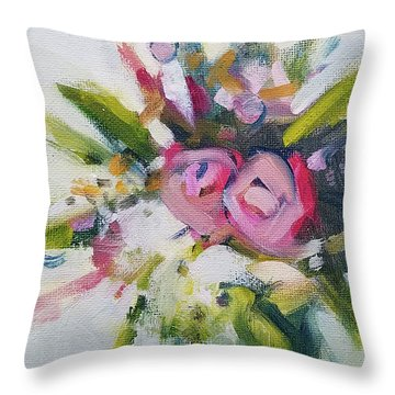 Rose Bouquet Flower Color Spring Throw Pillow