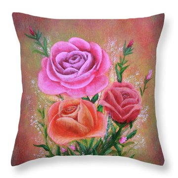 Throw Pillow featuring the painting Rose Bouquet by Kristi Roberts