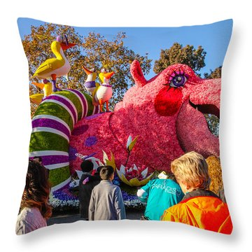 Rose Bowl Parade Throw Pillow by Robert Hebert