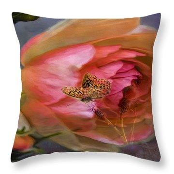 Rose Buttefly Throw Pillow