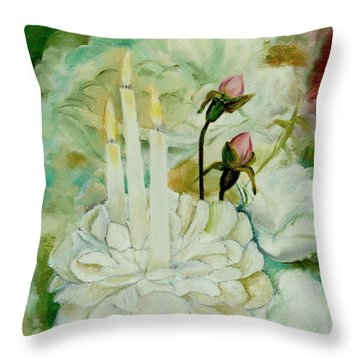 Rose Candles Throw Pillow